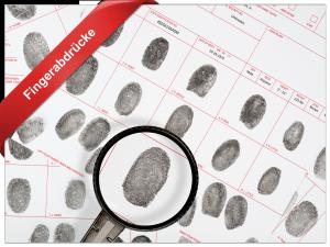Fingerabdrücke untersuchen mit 10 Finger-Spurenträger