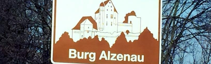 Kulturschild Burg Alzenau als Synonym für Detektivarbeit